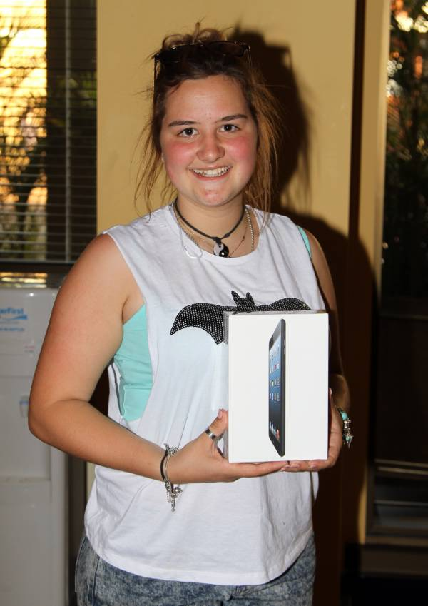 Tayla the winner of the iPad mini