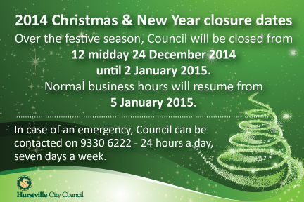 2014 Christmas New Year Closure Dates